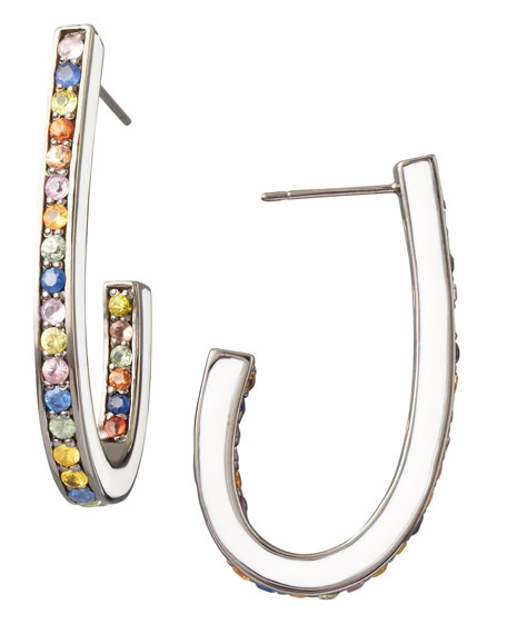 Mixed Pave Sapphire J Hoop Earrings, White