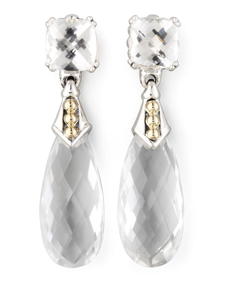 Prism Earrings, White Topaz