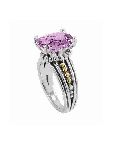Lagos Silver Prism Ring, Amethyst