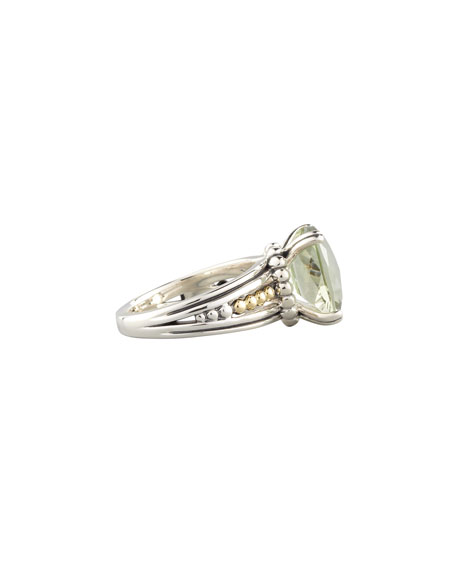 Silver Prism Ring, Green Amethyst