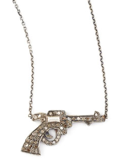 Zoe Chicco Pave Diamond Gun Pendant Necklace