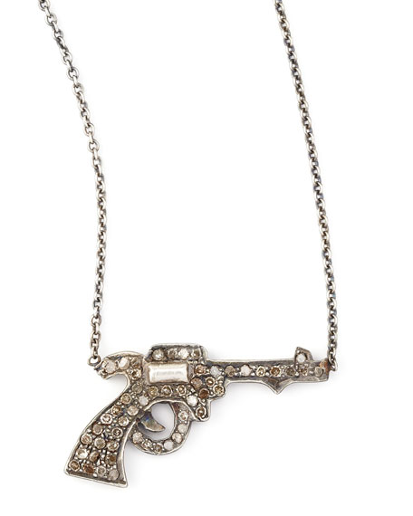 Pave Diamond Gun Pendant Necklace