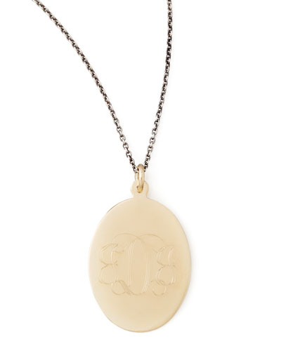 Zoe Chicco Gold Monogram-Engraved Oval Pendant Necklace