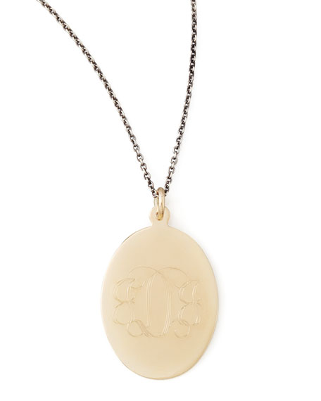 Gold Monogram-Engraved Oval Pendant Necklace