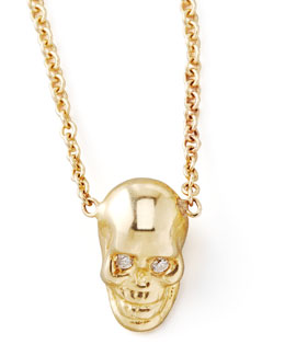 Zoe Chicco Yellow Gold Skull Pendant Necklace
