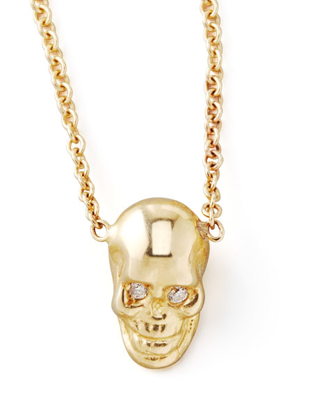 Yellow Gold Skull Pendant Necklace
