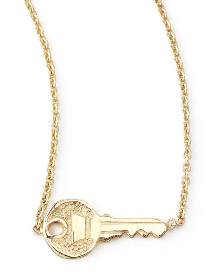 Yellow Gold Key Pendant Necklace
