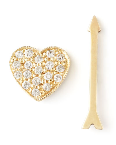 Zoe Chicco Diamond Heart & Arrow Earrings