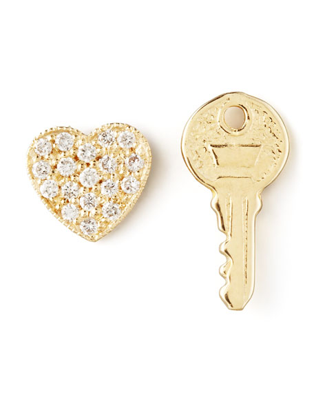 Diamond Heart & Key Earrings