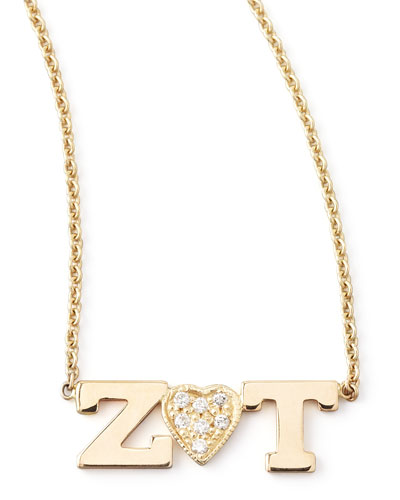 Zoe Chicco Personalized Two-Letter Diamond-Heart Necklace