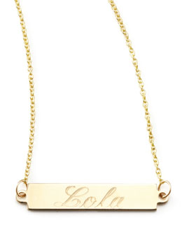 Zoe Chicco Personalized Gold Bar-Pendant Necklace, 18""