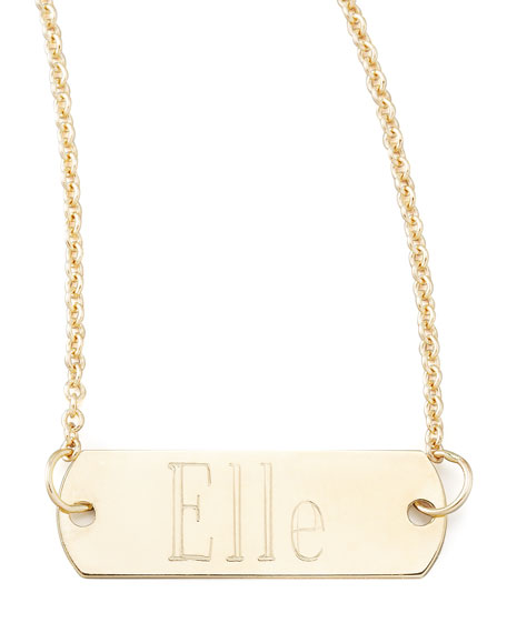 Personalized Gold Bar-Pendant Necklace, 26""