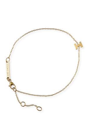 Zoe Chicco 14k Gold Block Initial Bracelet