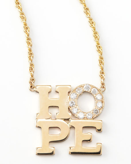 Pave Diamond Hope Pendant Necklace