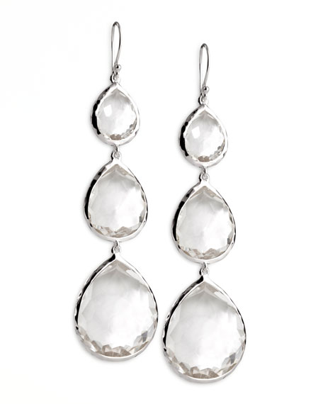 Triple Teardrop Earrings in Clear Quartz