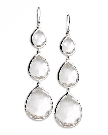 Triple Teardrop Earrings in Clear Quartz