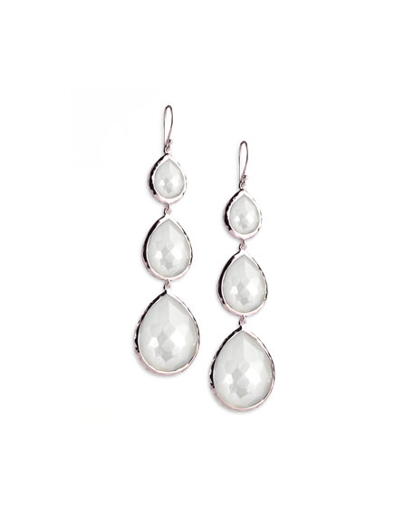 Triple Teardrop Earrings in Mother-of-Pearl Doublet