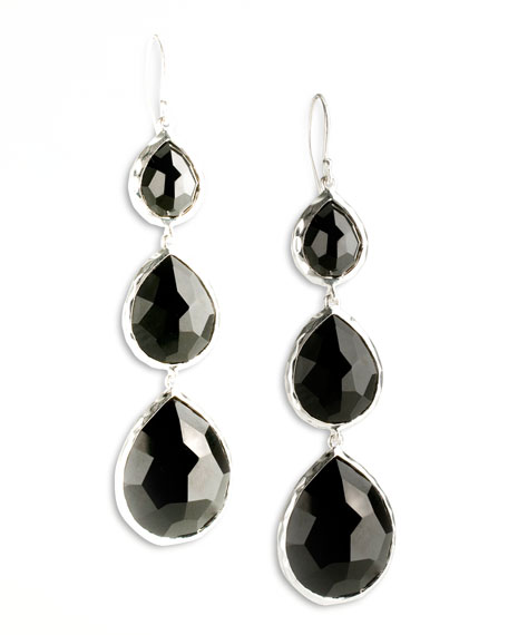 Triple Teardrop Earrings, Onyx