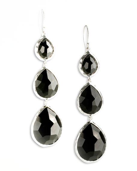 Triple Teardrop Earrings, Onyx