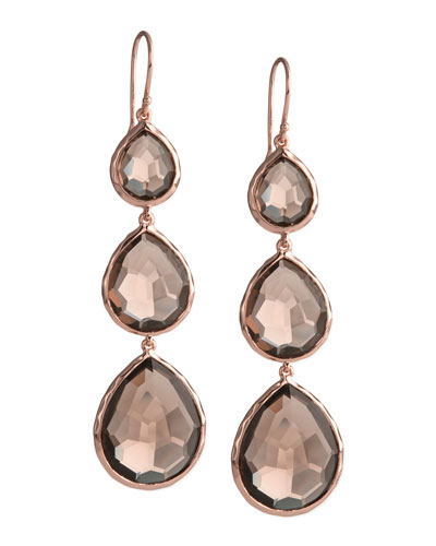 Ippolita Triple-Drop Rose Earrings, Smoky Quartz