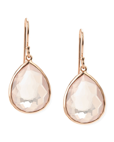 Single-Drop Rose Earrings, Clear Quartz