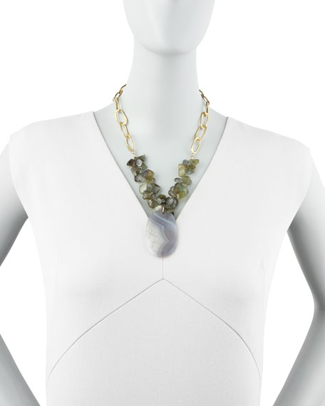 Green Agate & Quartz Necklace
