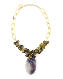 Devon Leigh Green Agate & Quartz Necklace