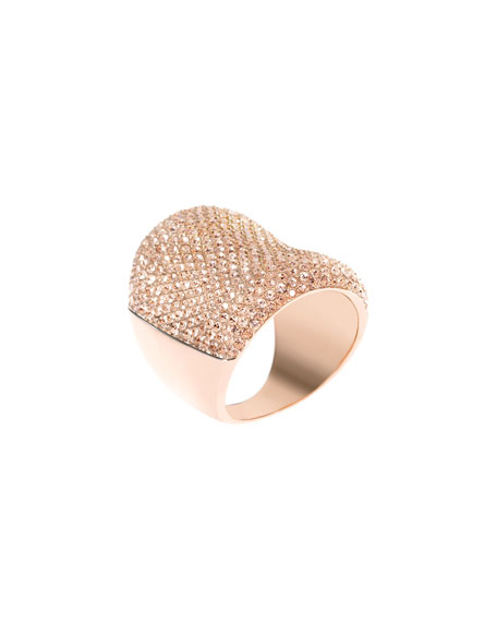 Concave Pave Ring,Rose Golden