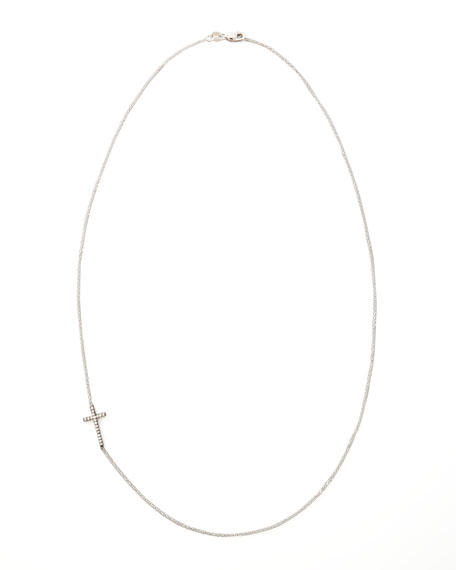 Diamond-Cross Necklace, Blackened White Gold