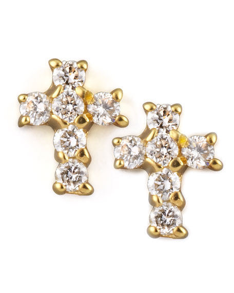 Diamond Cross Earrings, Yellow Gold