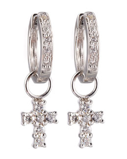 KC Designs Cross-Charm Huggie Earrings