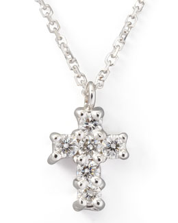 KC Designs Small Diamond-Cross Pendant Necklace, White Gold