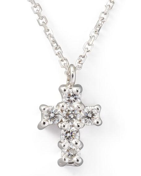 Small Diamond-Cross Pendant Necklace, White Gold