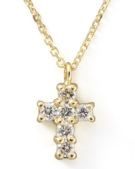 KC Designs Small Diamond-Cross Pendant Necklace, Yellow Gold