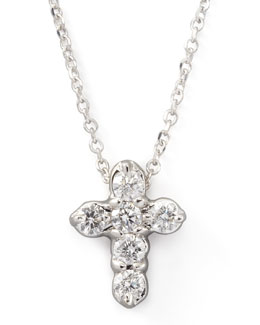 KC Designs Diamond-Cross Pendant Necklace, White Gold