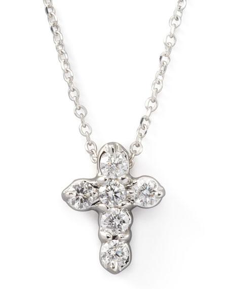 Diamond-Cross Pendant Necklace, White Gold