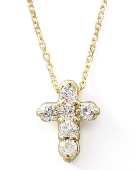 Diamond-Cross Pendant Necklace, Yellow Gold