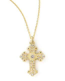 KC Designs Byzantine Cross Necklace, Yellow Gold