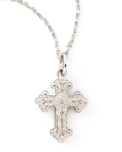 KC Designs Byzantine Cross Necklace, White Gold