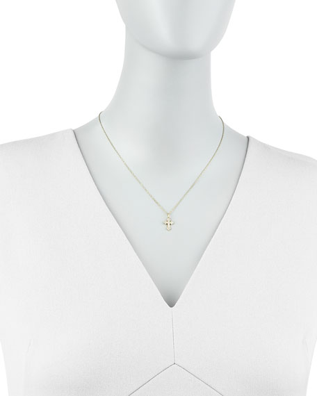 Byzantine Diamond-Cross Necklace, Yellow Gold