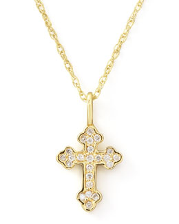 KC Designs Byzantine Diamond-Cross Necklace, Yellow Gold