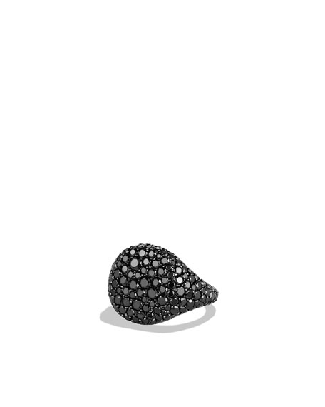 Pavé Pinky Ring with Black Diamonds in White Gold