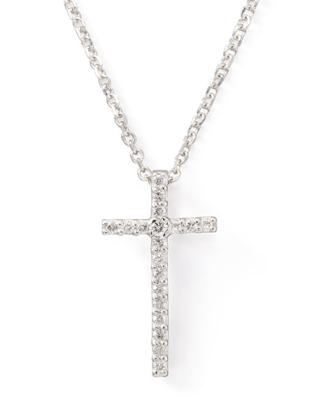 Small Diamond-Cross Pendant Necklace, White Gold