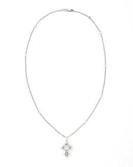 KC Designs Diamond Station Cross Pendant Necklace, White Gold