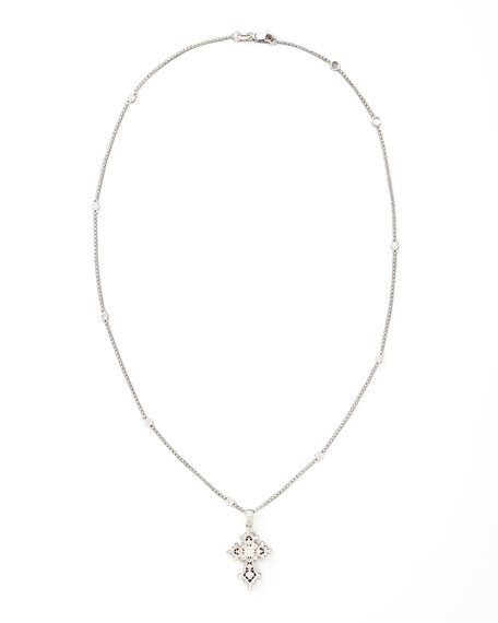 Diamond Station Cross Pendant Necklace, White Gold