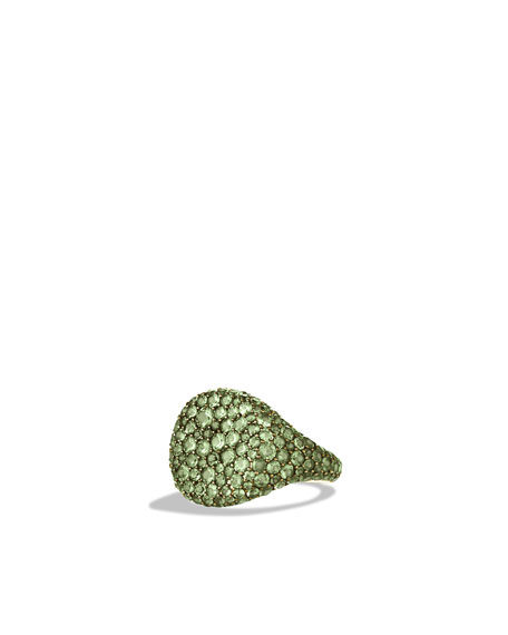 Pavé Pinky Ring with Demantoid Garnets in White Gold
