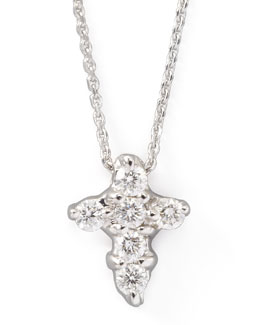 KC Designs Small Diamond-Cross Necklace, White Gold