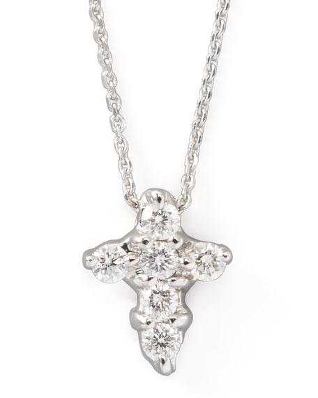 Small Diamond-Cross Necklace, White Gold