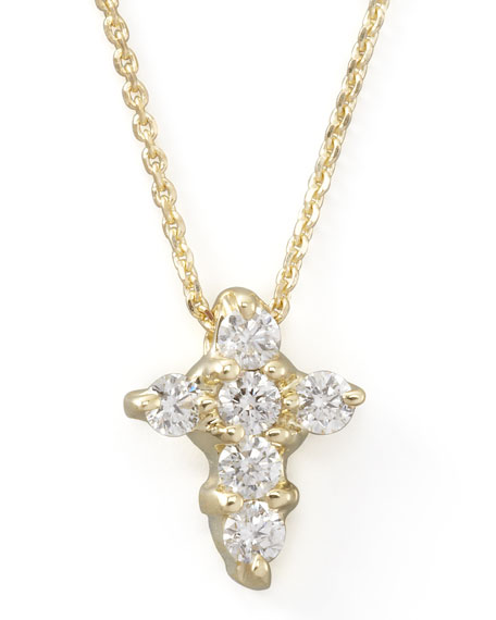 Small Diamond-Cross Necklace, Yellow Gold