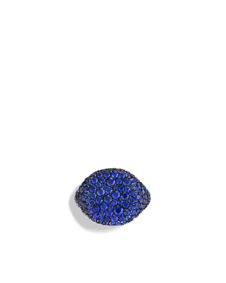 Pav&#233 Pinky Ring with Sapphires in White Gold